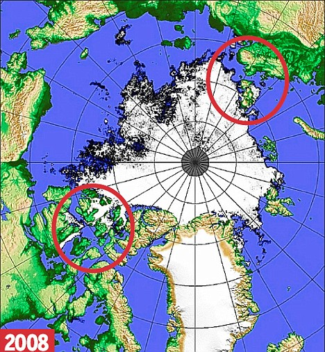 Arctic Ice 2008 showing open water