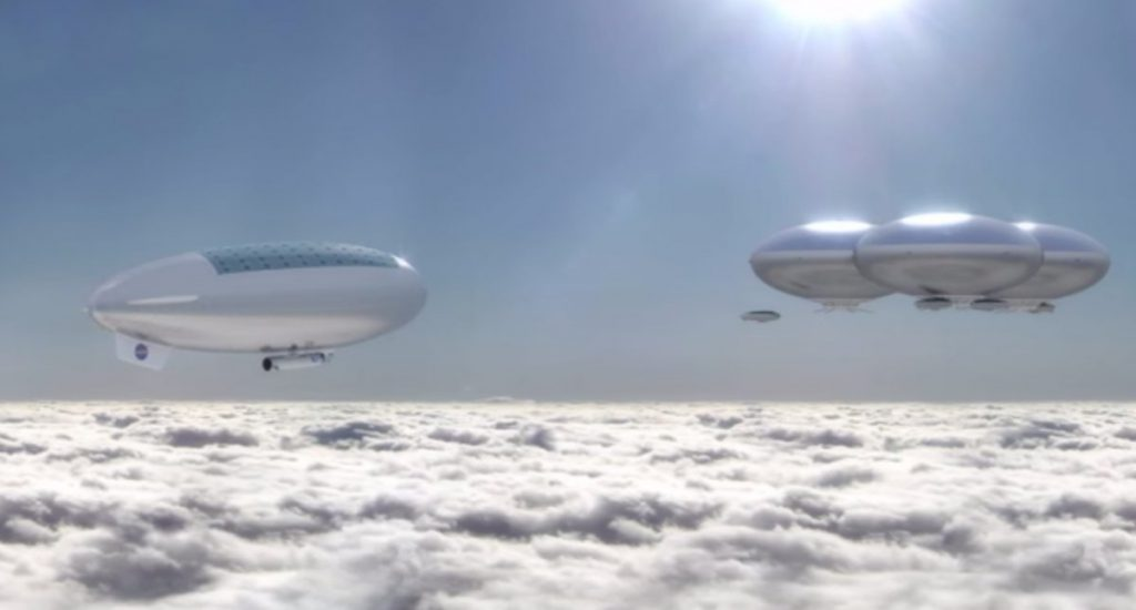 Floating Ships Above Venus, as envisioned by NASA Langley